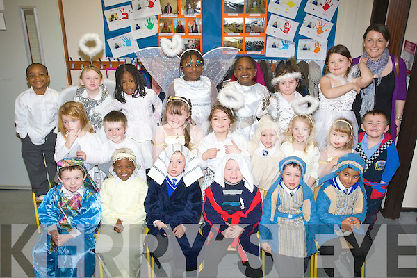 Miss Carole Harty with her Junior Infant Class at CBS primary school tralee Christmas play on Wednesday.