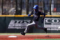 ELON, NC - MARCH 1: Jordan Schaffer #1 of Indiana State University rounds second base during a game between Indiana State and Elon at Walter C. Latham Park on March 1, 2020 in Elon, North Carolina.