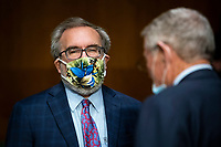 Andrew Wheeler, administrator of the Environmental Protection Agency (EPA), wears a face mask as he arrives during a Senate Environment and Public Works Committee hearing, on Capitol Hill in Washington, D.C., U.S., on Wednesday, May 20, 2020. <br /> Credit: Al Drago / Pool via CNP/AdMedia