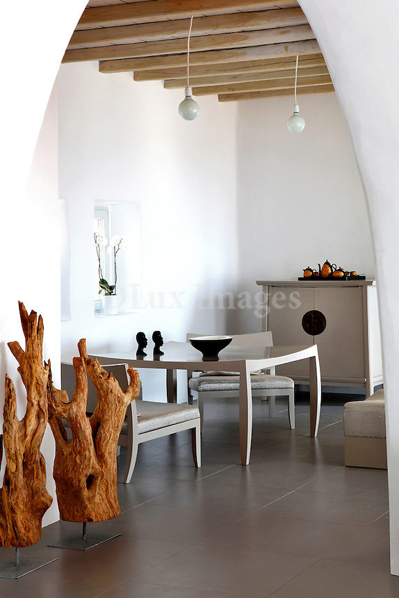 cycladic white dining room