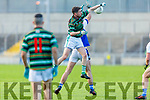 St Brendans David O'Callaghan out jumps his man for possession against Shannon Rangers in the County Football Championship 3rd round game on Saturday.