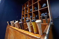 General view of the Detroit Tigers bats and helmets in the rack before a Spring Training game against the New York Yankees on March 2, 2016 at George M. Steinbrenner Field in Tampa, Florida.  New York defeated Detroit 10-9.  (Mike Janes/Four Seam Images)