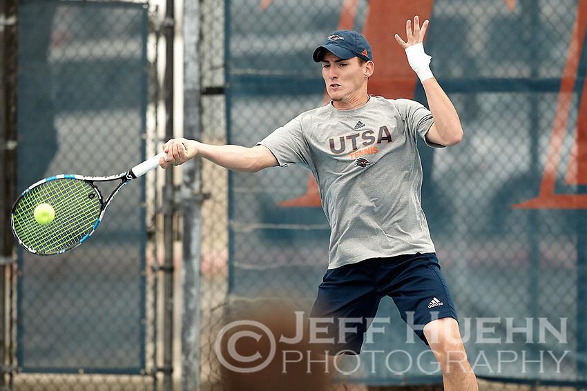 SAN ANTONIO, TX - MARCH 2, 2019: The University of Texas at San Antonio Roadrunners defeat the University of Texas Rio Grande Valley Vaqueros 6-1 at the UTS Tennis Center. (Photo by Jeff Huehn)