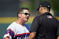 Winston-Salem Dash manager Justin Jirschele (9) argues with umpire Raul Moreno after having been ejected from the game against the Lynchburg Hillcats at BB&T Ballpark on June 23, 2019 in Winston-Salem, North Carolina. The Hillcats defeated the Dash 12-9 in 11 innings. (Brian Westerholt/Four Seam Images)