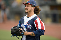 Left fielder Jay Jabs (7) of the Columbia Fireflies warms up before a game against the Rome Braves on Monday, July 3, 2017, at Spirit Communications Park in Columbia, South Carolina. Columbia won, 1-0. (Tom Priddy/Four Seam Images)