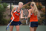April 23, 2015; San Diego, CA, USA; Pepperdine Waves tennis players Matea Cutura (left) and Christine Maddox (right) during the WCC Tennis Championships at Barnes Tennis Center.