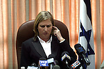 Israeli Opposition Leader Tzipi Livni is seen speaking at a Kadima party faction meeting, in Israel's Parliament (Knesset) in Jerusalem, June 15, 2009.  Livni referred to the much anticipated policy speech that Israeli Prime Minister, Benjamin Netanyahu gave yesterday evening at Bar-Ilan University, and stated that the speech was a step in the right direction. Photo By: Tess Scheflan / JINI .