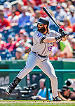 14 April 2018: Colorado Rockies outfielder Charlie Blackmon at bat in the first inning against the Washington Nationals at Nationals Park in Washington, DC. The Nationals rallied to defeat the Rockies 6-2 in the 3rd game of their 4-game series. Mandatory Credit: Ed Wolfstein Photo *** RAW (NEF) Image File Available ***