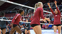 STANFORD, CA - November 3, 2018: Audriana Fitzmorris, Tami Alade, Kathryn Plummer at Maples Pavilion. No. 1 Stanford Cardinal defeated No. 15 Colorado Buffaloes 3-2.