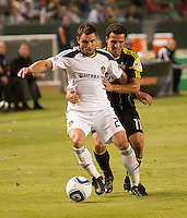 LA Galaxy midfielder Dema Kovalenko (21) battles Crew midfielder Dilly Duka (11) for the ball during the first half of the game between LA Galaxy and the Columbus Crew at the Home Depot Center in Carson, CA, on September 11, 2010. LA Galaxy 3, Columbus Crew 1.