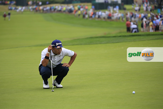 Hideki Matsuyama (JPN) lines up his putt on the 2nd green during Friday's Round 1 of the 2016 U.S. Open Championship held at Oakmont Country Club, Oakmont, Pittsburgh, Pennsylvania, United States of America. 17th June 2016.<br /> Picture: Eoin Clarke | Golffile<br /> <br /> <br /> All photos usage must carry mandatory copyright credit (&copy; Golffile | Eoin Clarke)