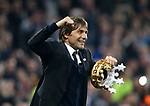 Chelsea's Antonio Conte celebrates with a crown during the Premier League match at Stamford Bridge Stadium, London. Picture date: May 15th, 2017. Pic credit should read: David Klein/Sportimage