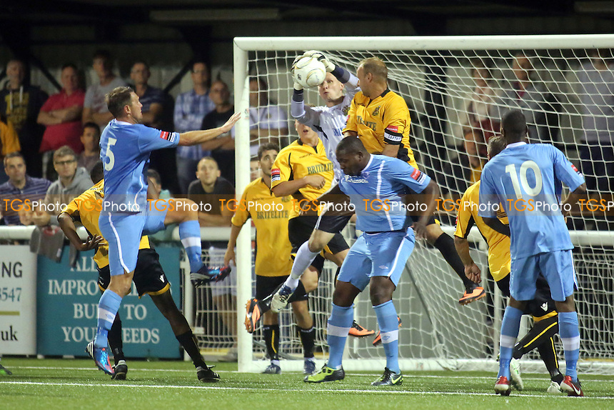 Maidstone goalkeeper, Lee Worgan, makes a fine save from a Billericay corner - Maidstone United vs Billericay Town - Ryman League Premier Division Football at the Gallagher Stadium, Maidstone, Kent - 20/08/13 - MANDATORY CREDIT: Paul Dennis/TGSPHOTO - Self billing applies where appropriate - 0845 094 6026 - contact@tgsphoto.co.uk - NO UNPAID USE