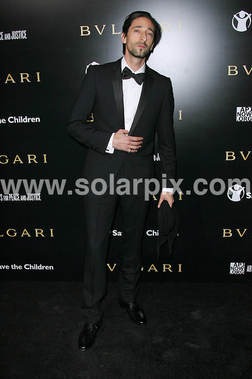 **ALL ROUND PICTURES FROM SOLARPIX.COM**                                             **SYNDICATION RIGHTS FOR UK, AUSTRALIA, DENMARK, PORTUGAL, S. AFRICA, SPAIN & DUBAI (U.A.E) & ASIA (EXCLUDING JAPAN) ONLY**                                                                                  Caption:  Arrivals at the Bvlgari Private Event honouring Simon Fuller and Paul Haggis to Benefit Save the Children and Artists for Peace and Justice, held at the Ron Burkle Residence, Beverly Hills, USA. 13 January 2011                                                                    This pic: Adrien Brody                                                             JOB REF: 12666 PHZ Charlotte      DATE: 13_01_2011                                                           **MUST CREDIT SOLARPIX.COM OR DOUBLE FEE WILL BE CHARGED**                                                                      **MUST AGREE FEE BEFORE ONLINE USAGE**                               **CALL US ON: +34 952 811 768 or LOW RATE FROM UK 0844 617 7637**