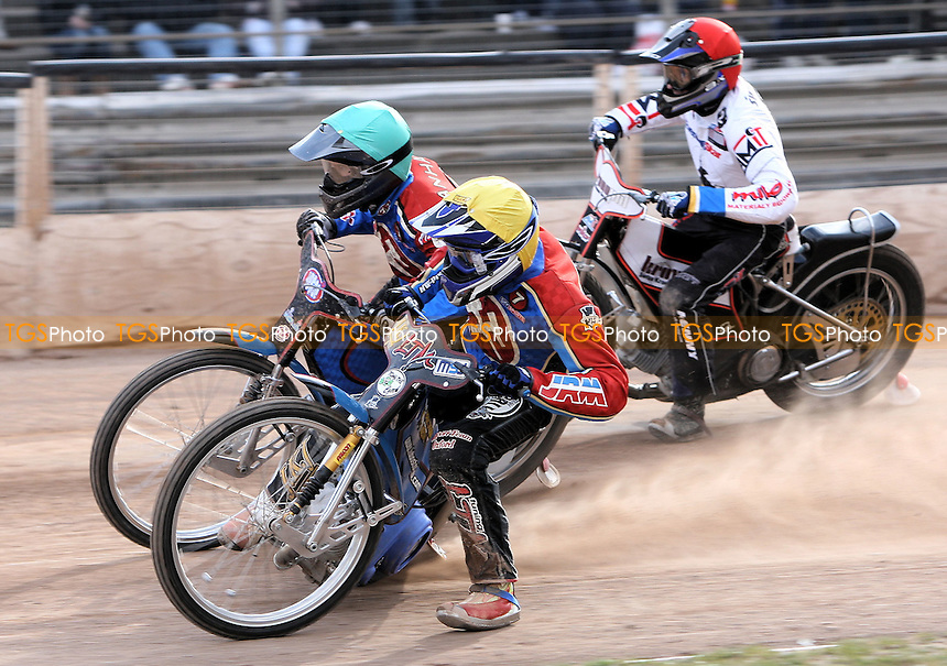 Heat 8: Leigh Lanham (green) and Lubos Tomicek ahead of Piotr Swiderski (red) - Ipswich Witches vs Lakeside Hammers - Craven Shield Speedway at Foxhall Stadium, Ipswich - 21/03/08 - MANDATORY CREDIT: Gavin Ellis/TGSPHOTO - Self billing applies where appropriate - Tel: 0845 094 6026