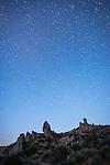 Cowboy rocks and the story night sky, Mono Basin, Calif.
