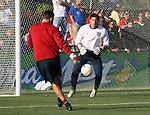 U.S. goalkeeper Tony Meola (r) warms up before the game on Tuesday, April 11th, 2006 at SAS Stadium in Cary, North Carolina. The United States Men's National Team tied Jamaica 1-1 in a men's international friendly.