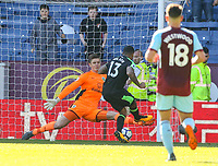 Bournemouth's Callum Wilson scores his side's second goal past Burnley's Nick Pope<br /> <br /> Photographer Alex Dodd/CameraSport<br /> <br /> The Premier League - Burnley v Bournemouth - Sunday 13th May 2018 - Turf Moor - Burnley<br /> <br /> World Copyright &copy; 2018 CameraSport. All rights reserved. 43 Linden Ave. Countesthorpe. Leicester. England. LE8 5PG - Tel: +44 (0) 116 277 4147 - admin@camerasport.com - www.camerasport.com