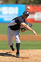New York Yankees pitcher Brett Marshall #93 delivers a pitch during a scrimmage against the USF Bulls at Steinbrenner Field on March 2, 2012 in Tampa, Florida.  New York defeated South Florida 11-0.  (Mike Janes/Four Seam Images)