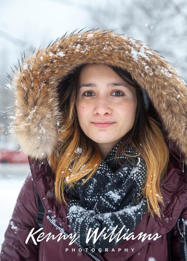 Beautiful Girl in the Winter Snow, Seattle, WA, USA.