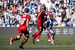 N'Zonzi of Sevilla FC fights the ball with Kone of Deportivo Leganes during their La Liga match between Deportivo Leganes and Sevilla FC at the Butarque Municipal Stadium on 15 October 2016 in Madrid, Spain. Photo by Diego Gonzalez Souto / Power Sport Images