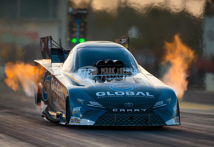 Mar 15, 2019; Gainesville, FL, USA; NHRA funny car driver Shawn Langdon during qualifying for the Gatornationals at Gainesville Raceway. Mandatory Credit: Mark J. Rebilas-USA TODAY Sports