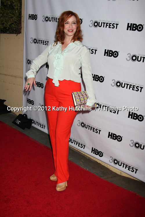 """LOS ANGELES - JUL 22:  Christina Hendricks arrives agt the 2012 Outfest Closing Night Gala of """"STRUCK BY LIGHTNING"""" at J.A. Ford Amphitheatre on July 22, 2012 in Los Angeles, CA"""