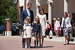 King Felipe VI of Spain, Princess Leonor of Spain, Princess Sofia of Spain and Queen Letizia of Spain pose at the Asuncion de Nuestra Senora Church after celebrating the First Communion of the Princess Leonor of Spain in Madrid, Spain. May 20, 2015. (ALTERPHOTOS/Victor Blanco)