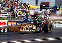Sep 3, 2016; Clermont, IN, USA; NHRA top fuel driver Tony Schumacher during qualifying for the US Nationals at Lucas Oil Raceway. Mandatory Credit: Mark J. Rebilas-USA TODAY Sports
