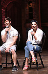 "Thayne Jasperson and Lauren Boyd during a Q & A before The Rockefeller Foundation and The Gilder Lehrman Institute of American History sponsored High School student #eduHam matinee performance of ""Hamilton"" at the Richard Rodgers Theatre on May 9, 2018 in New York City."
