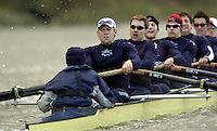 2005 Varsity Boat Race - Pre race fixtures - Putney, London., ENGLAND;.OUBC,  cox Acer nethercott, stroke. Andrew Trigg-Hodge, 7. Jason Flickinger,  6. Michael blomquist, 5. Peter Reed, 4. Joe von Maltzahn, 3. christopher Liwski, 2. Barney Williams Bow Robin Bourne-Taylor...USA/NED stroke. Josh Inman, 7. Gijs Vermeulen, 6. Sjoerd Hamburger, 5. Mark Flickinger, 4. Matt Hughes, 3. Paul Daniels, 2. Gabe Winkler, bow, Julien Romcolthoff...CUBC. Cox Peter Rudge, Stroke, Bernd Heiddickeer, 7. Tom James, 6. Steffen Buschbacher, 5. Sebastian Schulte, 4. Thomas Edwards, 3. Henry Adams, 2. Matthias Kleinz, bow, Luke Walton..Photo  Peter Spurrier. .email images@intersport-images...[Mandatory Credit Peter Spurrier/ Intersport Images] Varsity:Boat Race Rowing Course: River Thames, Championship course, Putney to Mortlake 4.25 Miles