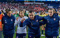 HARRISON, NJ - MARCH 08: Vlatko Andonovski of the United States talks in the huddle during a game between Spain and USWNT at Red Bull Arena on March 08, 2020 in Harrison, New Jersey.