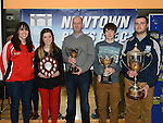 Senior ladies player Michaela O'Boyle, U-12 girls captain Kara Dowling, club chairperson Pio Smith, Boys U-14 captain Ross Nally and senior captain Hugh McGinn  at the Newtown Blues juvenile awards presentations held in the Barbican Centre. Photo:Colin Bell/pressphotos.ie