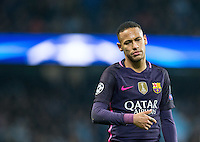 Neymar of Barcelona shows his frustration during the UEFA Champions League match between Manchester City and Barcelona at the Etihad Stadium, Manchester, England on 1 November 2016. Photo by Andy Rowland / PRiME Media Images.