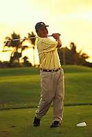 Golfer on the tee at Ko Olina Golf Club, west Oahu