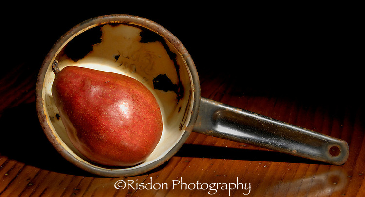 Red Pear in Metal Pot