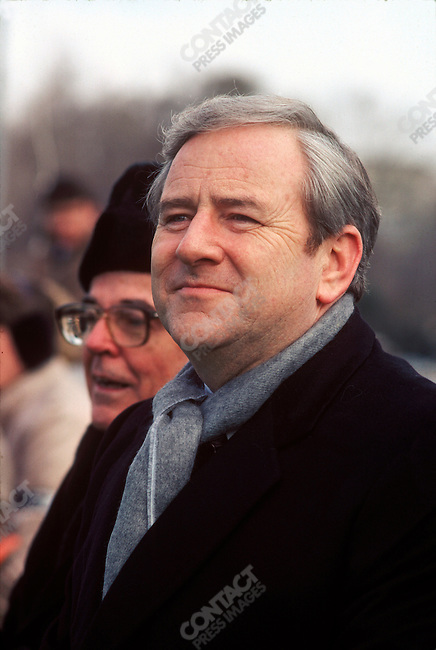 Reverend Jerry Falwell, televangelist and co-founder of the Moral Majority, at an anti-abortion rally. Washington, D.C, January 1985.