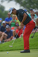 Hideki Matsuyama (JPN) watches his putt on 12 during 1st round of the World Golf Championships - Bridgestone Invitational, at the Firestone Country Club, Akron, Ohio. 8/2/2018.<br /> Picture: Golffile | Ken Murray<br /> <br /> <br /> All photo usage must carry mandatory copyright credit (&copy; Golffile | Ken Murray)