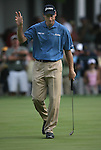 6 September 2008:   Jim Furyk acknowledges a large gallery gathered at the ninth hole after he sank a putt in the third round of play at the BMW Golf Championship at Bellerive Country Club in Town & Country, Missouri, a suburb of St. Louis, Missouri. Furyk was the leader after the conclusion of round two with a score of 62.  After the first nine holes of the 18-hole third round, Furyk was 11 under-par.  The BMW Championship is the third event of the Fed Ex Cup and the top 30 finishers will qualify for the next event of the championship.