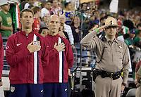 USA head coach Bob Bradley, center, during the national anthem. USA 2, Mexico 0, at the University of Phoenix Stadium in Glendale, AZ on February 7, 2007.