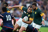 Bismarck Du Plessis of South Africa takes on the USA defence. Rugby World Cup Pool B match between South Africa and the USA on October 7, 2015 at The Stadium, Queen Elizabeth Olympic Park in London, England. Photo by: Patrick Khachfe / Onside Images