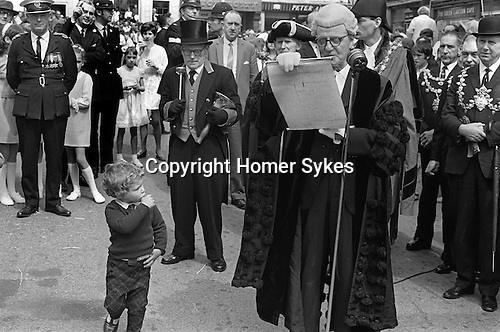 Great Torrington Devon UK. May Fair. 1970. The Town Clerk opening the Mayfair, which is believed to have been going on since 1554. It takes place on the first Thursday in May.