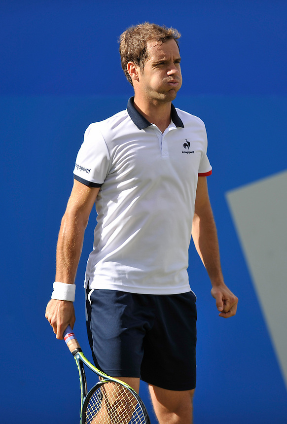 Richard Gasquet (FRA) in action today during his defeat by Milos Raonic (CAN) in their Men&rsquo;s Singles Second Round match - Milos Raonic (CAN) def Richard Gasquet (FRA) 6-4, 6-7, 6-1<br /> <br /> <br /> <br /> Photographer Ashley Western/CameraSport<br /> <br /> Tennis - ATP 500 World Tour - AEGON Championships- Day 3 - Wednesday 17th June 2015 - Queen's Club - London <br /> <br /> &copy; CameraSport - 43 Linden Ave. Countesthorpe. Leicester. England. LE8 5PG - Tel: +44 (0) 116 277 4147 - admin@camerasport.com - www.camerasport.com