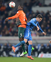 FUSSBALL   1. BUNDESLIGA  SAISON 2012/2013   15. Spieltag TSG 1899 Hoffenheim - SV Werder Bremen    02.12.2012 Assani Lukimya (li, SV Werder Bremen) gegen Denis Streker (TSG 1899 Hoffenheim)