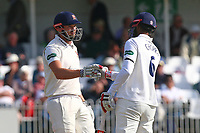 Nick Browne (L) and Varun Chopra of Essex during Yorkshire CCC vs Essex CCC, Specsavers County Championship Division 1 Cricket at Scarborough CC, North Marine Road on 7th August 2017
