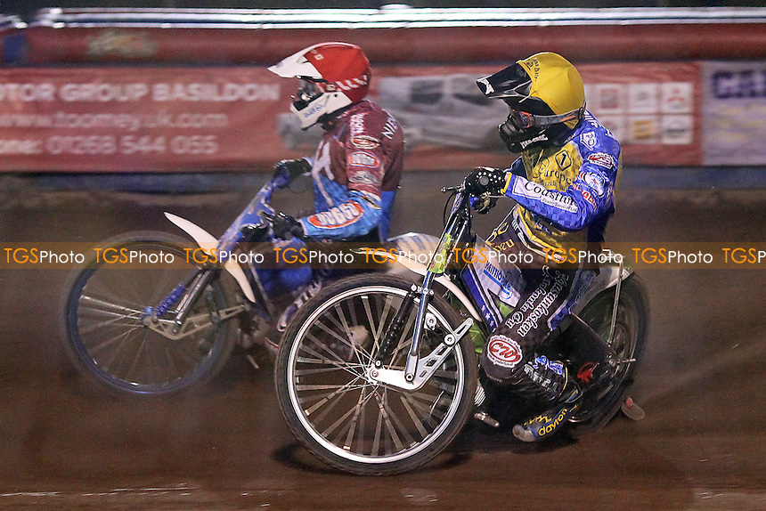 Heat 8: Timo Lahti (yellow) ahead of Kauko Nieminen - Lakeside Hammers vs Eastbourne Eagles - Sky Sports Elite League Speedway at Arena Essex Raceway, Purfleet - 17/08/12 - MANDATORY CREDIT: Gavin Ellis/TGSPHOTO - Self billing applies where appropriate - 0845 094 6026 - contact@tgsphoto.co.uk - NO UNPAID USE.