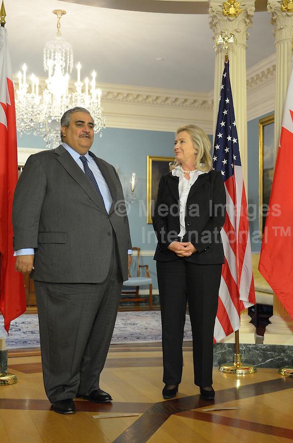 October 26, 2011  (Washington, DC)  U.S. Secretary of State Hillary  Clinton held a bilateral meeting with the Foreign Minister of Bahrain, Shaikh Khalid bin Ahmed al-Khalifa (Photo by Don Baxter/Media Images International)
