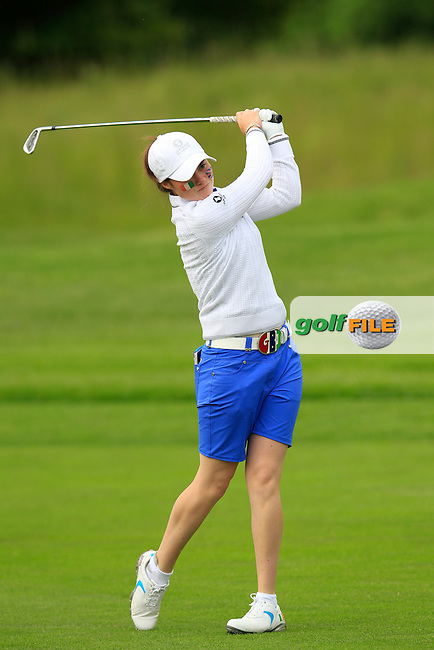 Leona Maguire during the Friday morning foursomes at the 2016 Curtis cup from Dun Laoghaire Golf Club, Ballyman Rd, Enniskerry, Co. Wicklow, Ireland. 10/06/2016.<br /> Picture Fran Caffrey / Golffile.ie<br /> <br /> All photo usage must carry mandatory copyright credit (&copy; Golffile | Fran Caffrey)