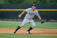 Danville Braves first baseman Jeff Campbell (39) on defense against the Burlington Royals at Burlington Athletic Park on July 12, 2015 in Burlington, North Carolina.  The Royals defeated the Braves 9-3. (Brian Westerholt/Four Seam Images)