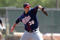 Minnesota Twins Andrew Albers #38 during a minor league spring training intrasquad game at the Lee County Sports Complex on March 25, 2012 in Fort Myers, Florida.  (Mike Janes/Four Seam Images)